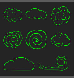 Clouds set line icons vector