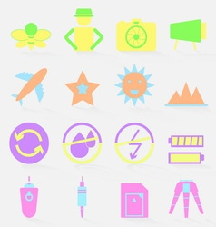 Camera shooting color icons with shadow vector
