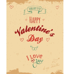 Vintage valentine greeting card vector