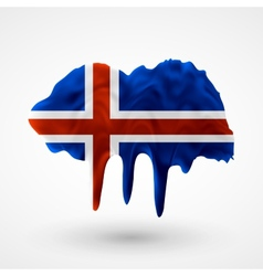 Flag of iceland painted colors vector
