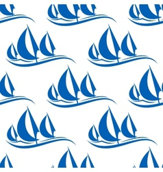 Blue yachts seamless pattern vector