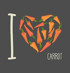 I love carrots heart of orange carrots vector