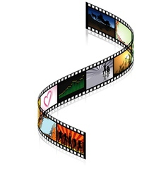 Colored filmstrip vector
