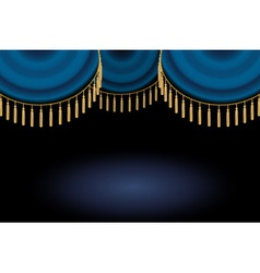 Satin or velvet curtain with lace or thread on vector