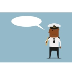 Ship captain with spyglass and speech bubble vector