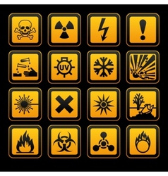 Hazard symbols orange s sign on black background vector