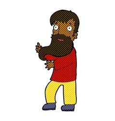 Comic cartoon excited bearded man vector