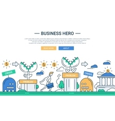 Business hero line flat design banner with vector