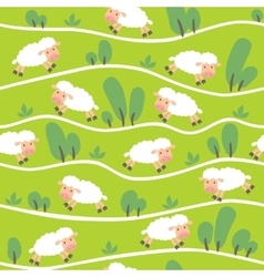 Seamless pattern with funny sheeps onthe hills vector