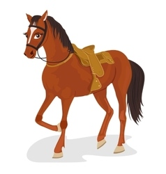 Saddled horse standing on white background vector