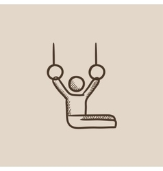 Gymnast performing on stationary rings sketch icon vector