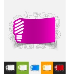Fluorescent light bulb paper sticker with hand vector