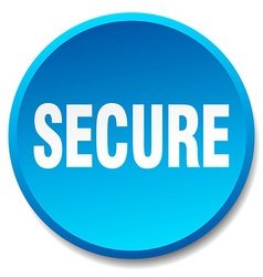Secure blue round flat isolated push button vector