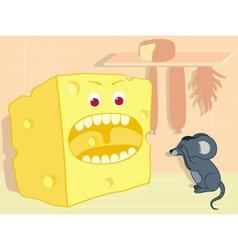 Cheese and mouse vector