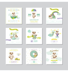 Baby shower card arrival baby baby dog boy set vector