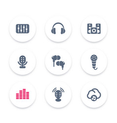 Audio icons equalizer sound mixing headphones vector