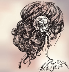 Beautiful girl bridal hairstyle vector