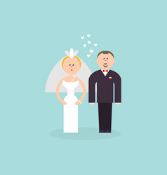 Bride and groom with love vector