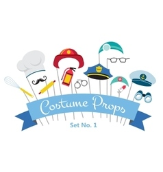 costume party and photo booth props profession vector image vector image