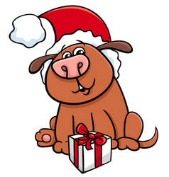 Dog with gift on christmas vector