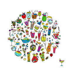 Drinks collection sketch for your design vector