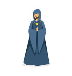 european medieval catholic monk character colorful vector image