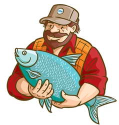 fisherman with fish vector image