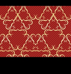 Gold seamless pattern on a red background vector image vector image