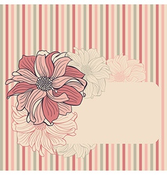 Greeting card with hand-drawn flowers of dahlia vector image vector image