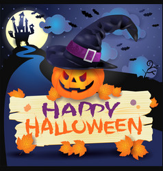 halloween background with pumpkin sign and hat vector image vector image