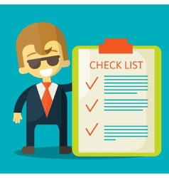 Happy businessman with checklist All items are vector image vector image