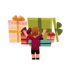 holiday present gift boxes pile and boy vector image
