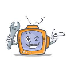 mechanic tv character cartoon object vector image vector image
