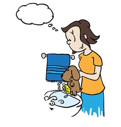 mom with thought bubble washing a dog vector image vector image