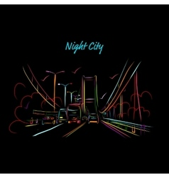 Night city road for your design vector image