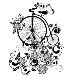 Old bicycle and floral ornament2 vector