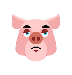 Pig sad emoji piggy sorrowful emotion on white vector