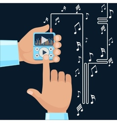 Playing music in Mp3 player hands vector image vector image