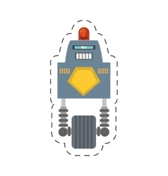 robot with siren sign warning cutting line vector image vector image