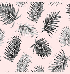Royal palm tree leaves seamless pattern black pink vector