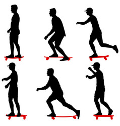 set ilhouettes a skateboarder performs jumpingon a vector image