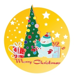 snowman Christmas tree and gifts vector image