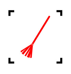 Sweeping broom sign red icon inside black vector