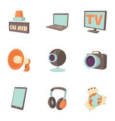 Tidings icons set cartoon style vector