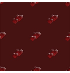 two hearts lowpoly seamless pattern vector image vector image