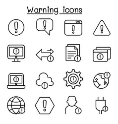 warning caution danger icon set in thin line style vector image