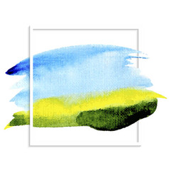 watercolor background blue sky green field vector image vector image