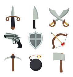 weapon gun ax bomb sword archer armor vector image