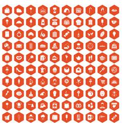 100 patisserie icons hexagon orange vector