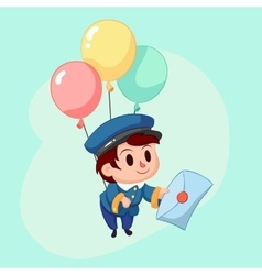 Postman delivery mail friendly post man in blue vector